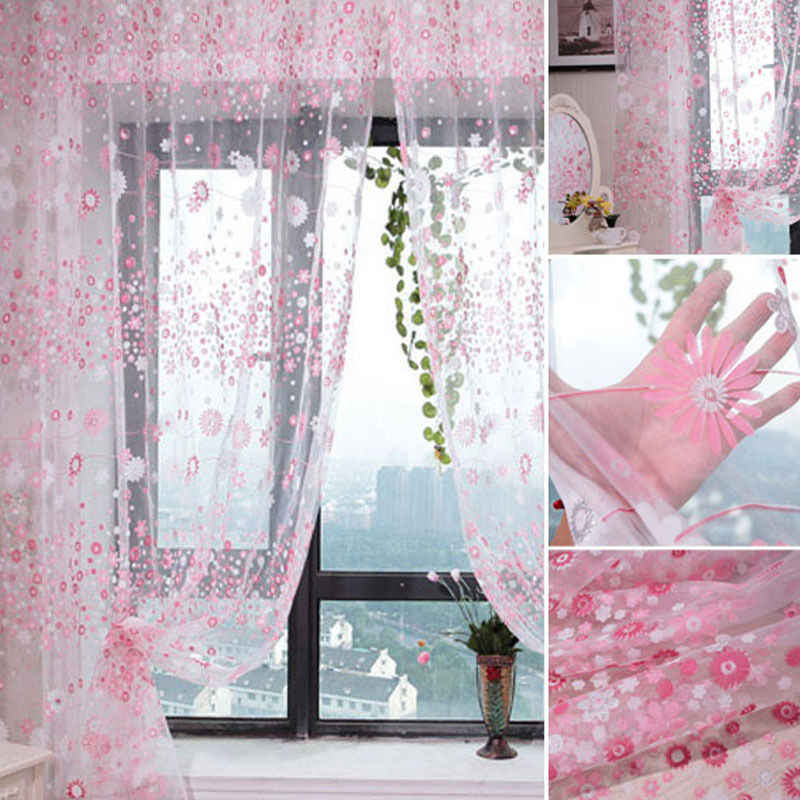 Curtains New Floral Tulle Voile Door Window Curtain Drape Panel Sheer Scarf Valances