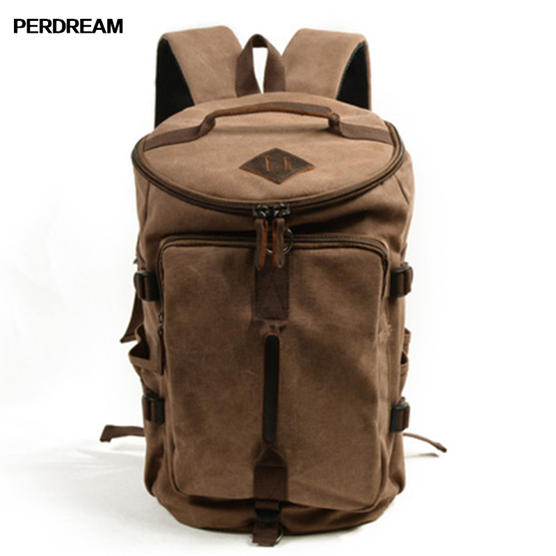 PERDREAM Men Women Backpack High-Capacity Ventilation Shockproof Casual Canvas Bag Business Affairs Retro Travelling Bag casual canvas women backpack simple cover large capacity travelling bag khaki blue rose red and green colors big and small