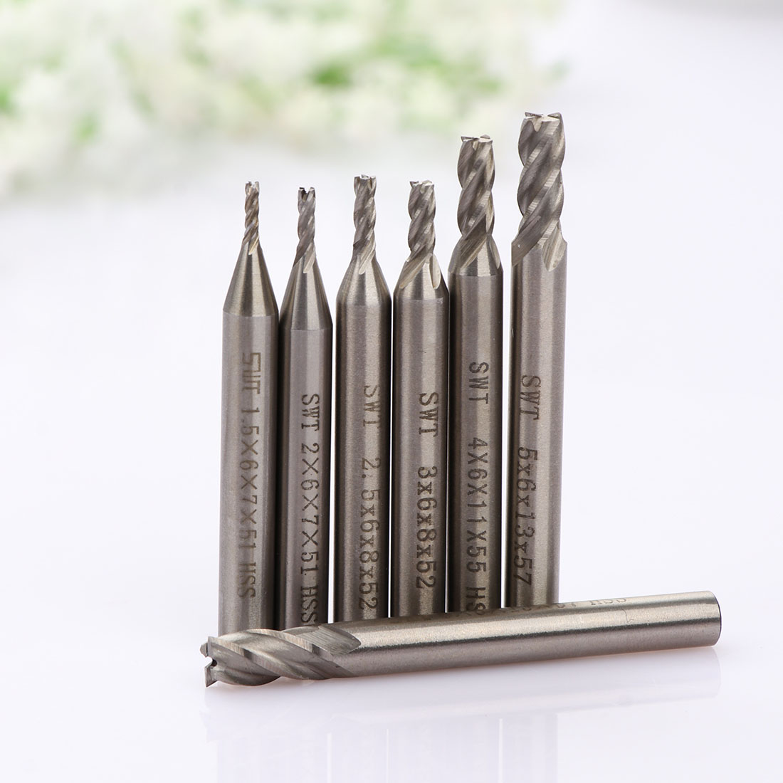 7pcs Carbide End Mill HSS 4 Flutes 1.5-6mm Milling Cutter Straight Shank Router