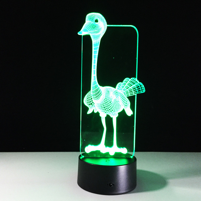 Ostrich 3d Lamp 7 Color Led Night Lamps For Kids Touch Led Usb ...