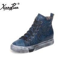 Xiangban 2018 spring autumn winter women platform boots lace up genuine leather women Martin boots flat heel