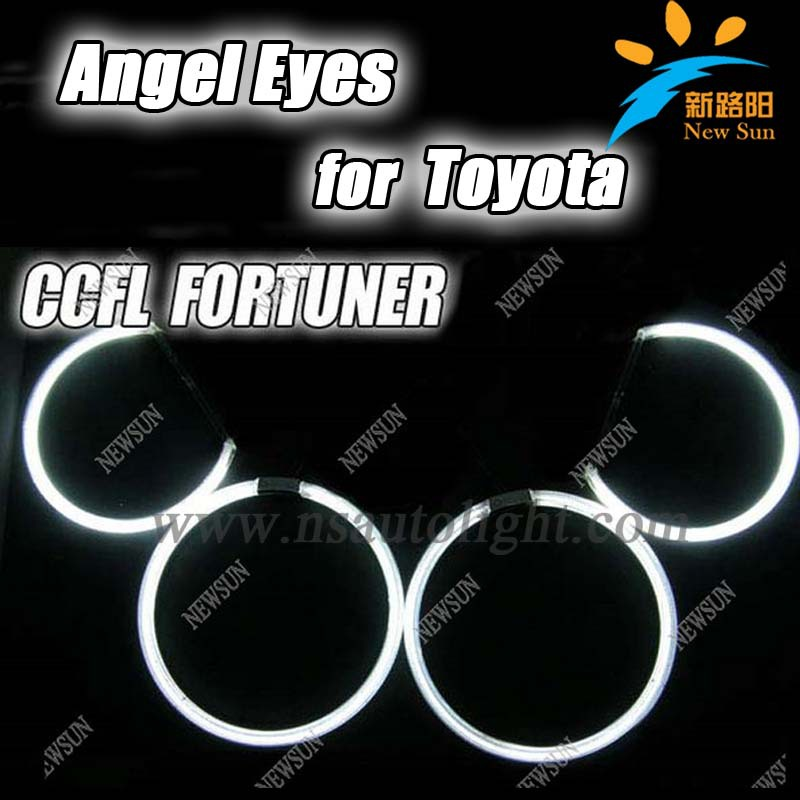 Ultra bright headlight  CCFL, Angel Eyes for Toyota FORTUNER Red Blue White Yellow Purple Green color auto ccfl angel eyes kit free shipping 4rings full circle ccfl angel eye ring for wagon frv with red blue yellow green purple white orange colors