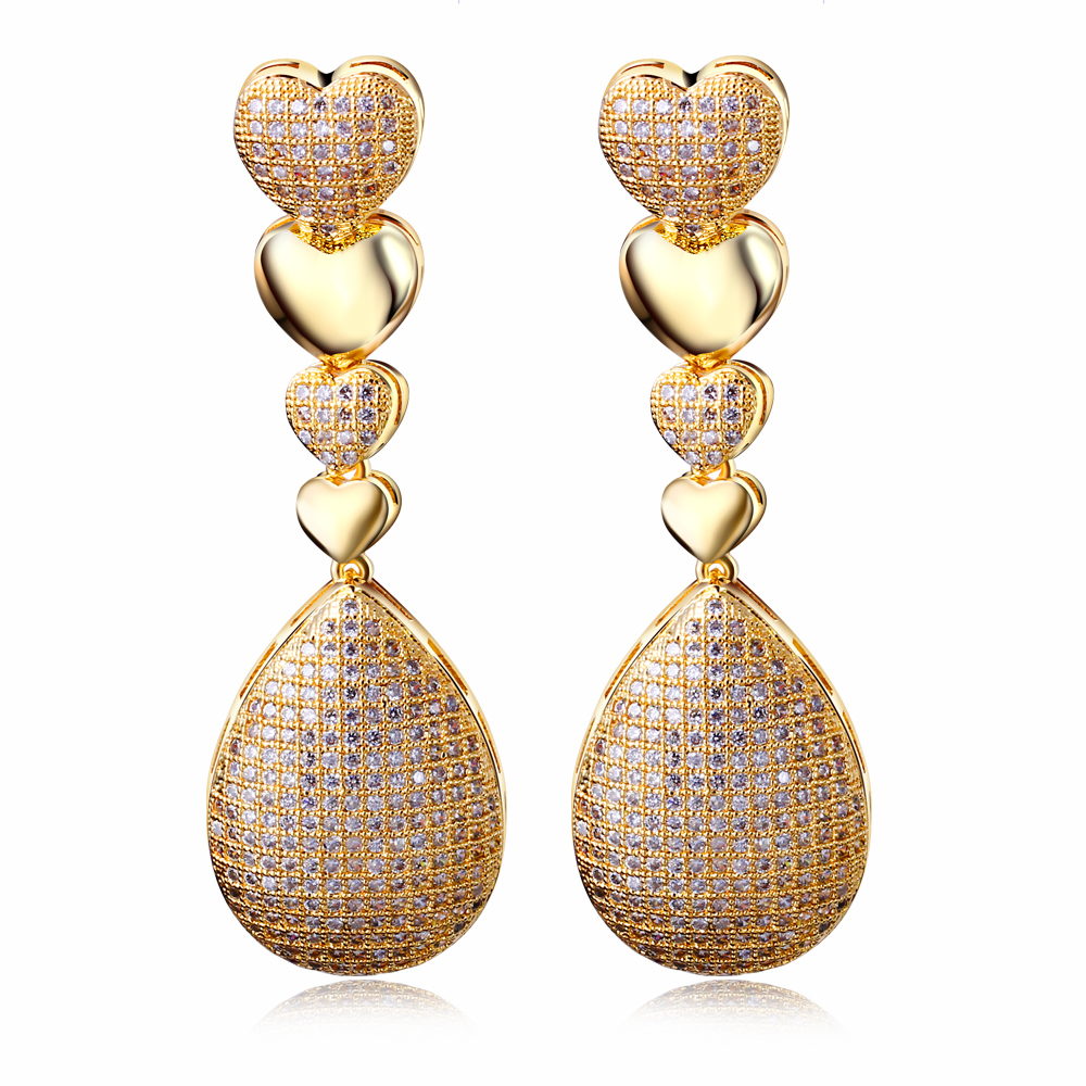Long fashion Earrings Cubic zircon setting luxury Drop Earring big ...