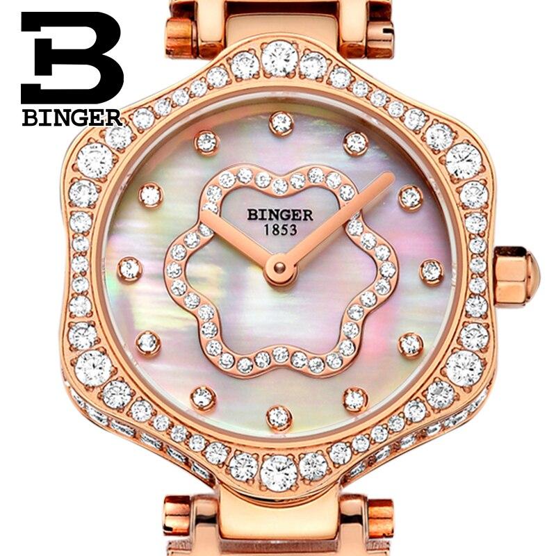 2018 Zwitserland BINGER Vrouwen Horloges Luxe Merk Quartz Horloge Vrouw Saffier Horloges relogio feminino B1150 3-in Dameshorloges van Horloges op  Groep 1