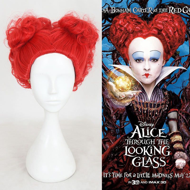 Halloween Alice in Wonderland Red Queen Wig Role Play Queen of Hearts Costume Red Hair + Wig Cap