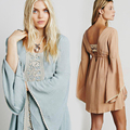 Sexy elegant women Dress Summer boho Long flare Sleeve Blue Mini Embroidery Hippie Desigual Dresses Brand Clothing