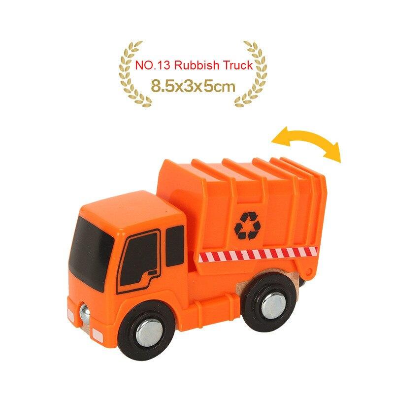 EDWONE деревянный магнитный Поезд Самолет деревянная железная дорога вертолет автомобиль грузовик аксессуары игрушка для детей подходит Дерево Biro треки подарки - Цвет: NO.13 Rubbish Truck