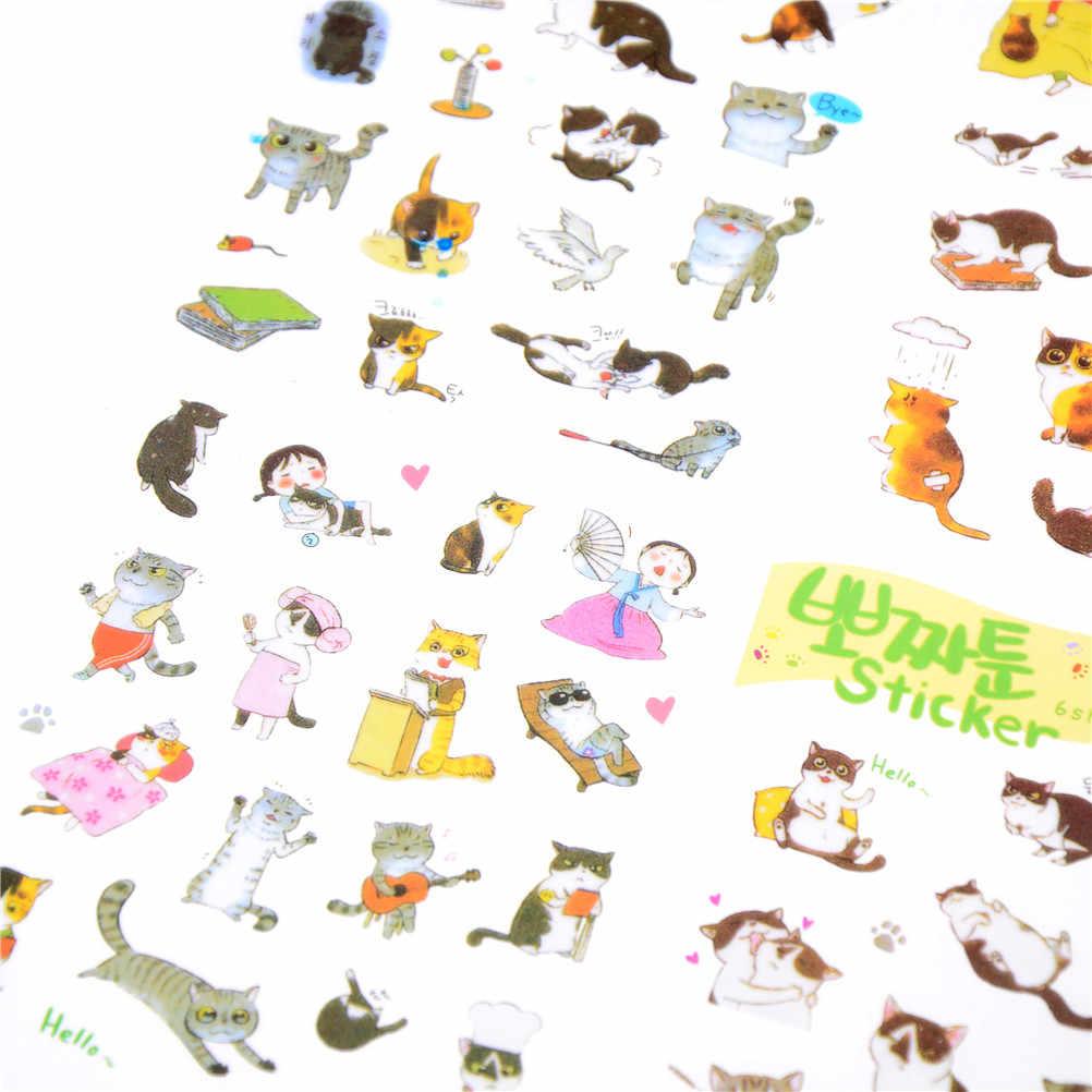 6 ชิ้น/แพ็คเกาหลีสติกเกอร์ PVC โปร่งใสน่ารักการ์ตูนสัตว์ Cat ไดอารี่อัลบั้มภาพสติกเกอร์ของเล่นคลาสสิกของขวัญ