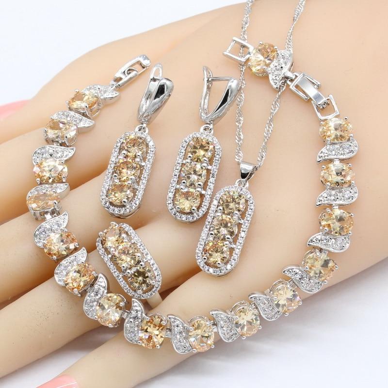 Ring-Bracelet Jewelry-Sets Necklace White Earrings Pendant Bridal 925-Silver Women Zirconia