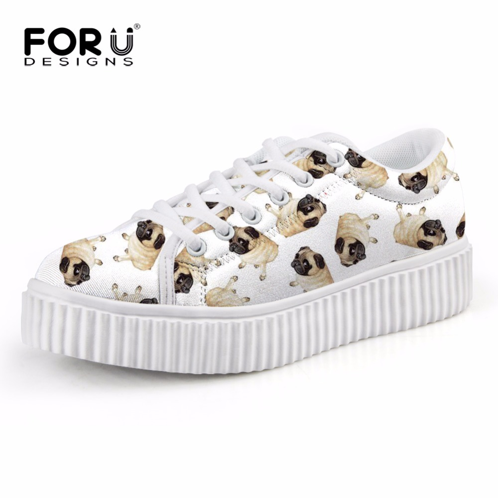FORUDESIGNS Pug Dog Printed Cute Flats Shoes for Women Height Increasing Creepers Shoes Woman Spring Female Casual Platform Shoe forudesigns women casual wedge platform shoes 3d animal rabbit printed height increasing shoes shape ups for female swing shoes