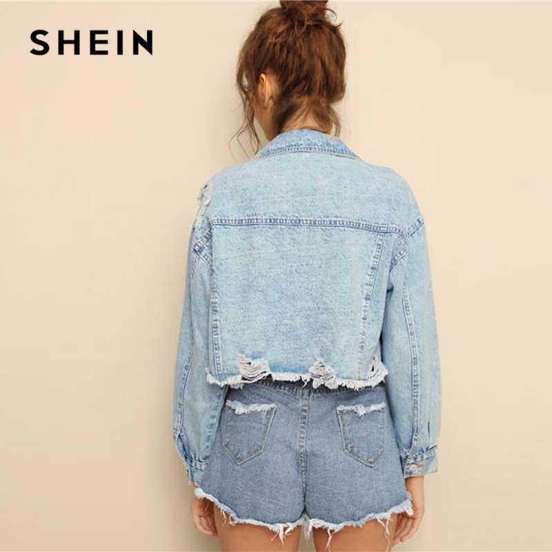 SHEIN azul rasgado borde deshilachado escamas Crop Denim Jeans chaqueta mujer primavera otoño solo Breasted Casual Outwear chaquetas