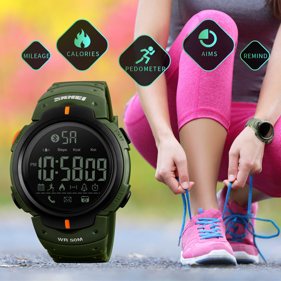 SKMEI font b Smart b font font b Watch b font Men Waterproof Bluetooth Calorie Pedometer