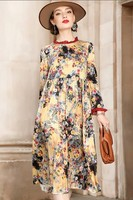 Milan 2018 new silk dress long sleeve women silk printed mid length dress