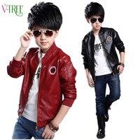 Hot Spring Teen Boys Jacket Clothing School Boys Faux Leather Jacket Outwear Windbreaker Kids Coat Children