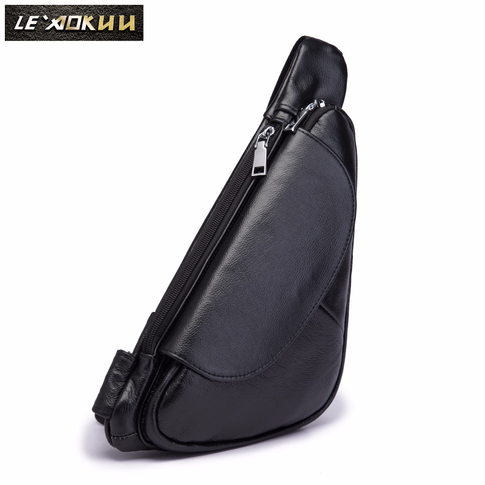 Men Quality Leather Casual Fashion Triangle Crossbody Chest Sling Bag Design Travel One Shoulder Bag Backpack Daypack Male 696