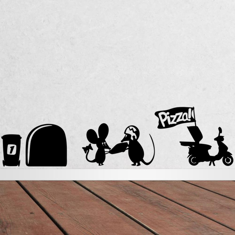 3D Забавный мышь отверстие Пицца стены стикеры для детей номеров виниловые наклейки Wall Art украшения дома старинные обои росписи