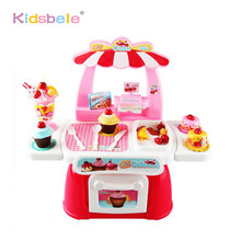 Lovely Cake Shop Mini Fast Food Shop Pink Kitchen Set Toy With Pretend Variety Foods Educational Girls Toys For Kids(China)