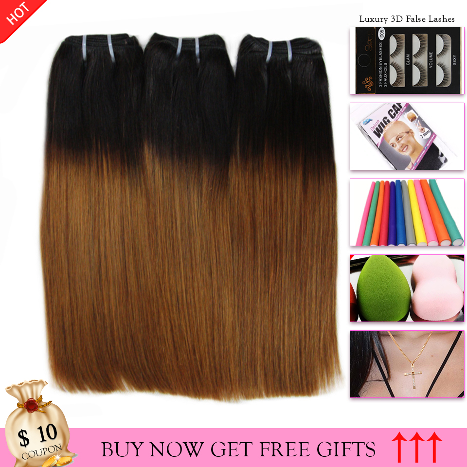 1B 30 Ombre Color Straight Human Hair Extensions Double Drawn Funmi Hair Weaving 1 3