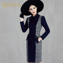 Queenus 2017 Autumn Winter Women Wool Dress Turn Down Collar Plaid Color Block Patchwork Knee Length Dark Blue Women Dresses