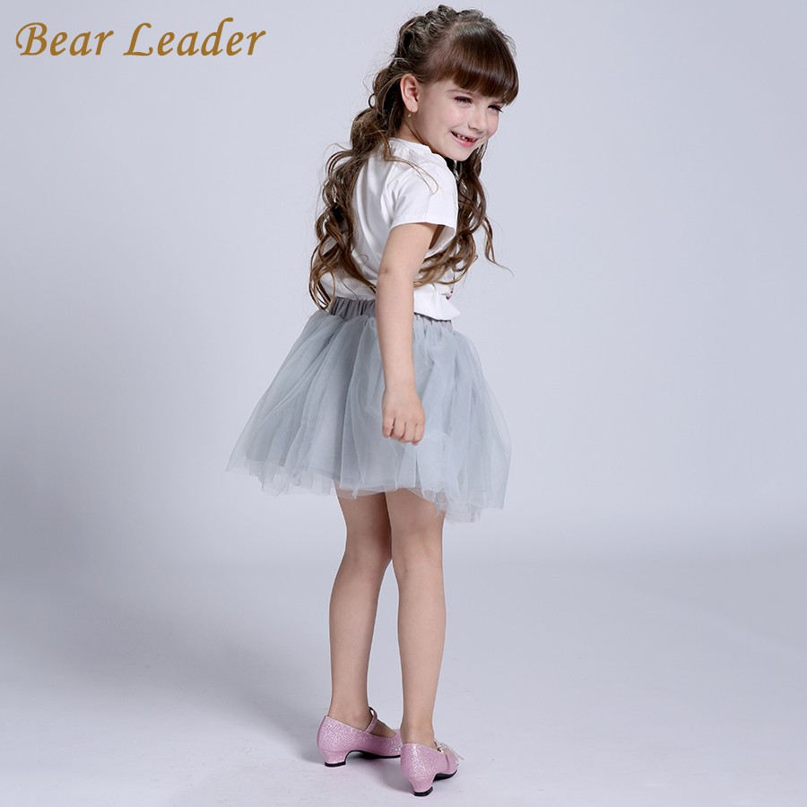 Bear Leader Girls Clothing Sets New Summer Fashion Style Cartoon Kitten Printed T-Shirts+Net Veil Dress 2Pcs Girls Clothes Sets 21