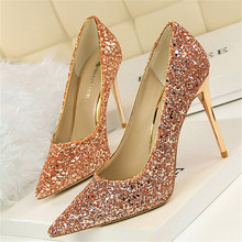 New fashion high-heeled shoes shallow mouth pointed sparkle sequins sexy thin nightclub banquet high-heeled women's shoes