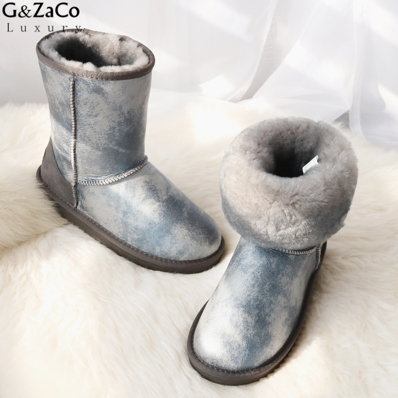 G&Zaco Luxury Sheepskin Fur Boots Women Winter Snow Boots Middle Calf  Boots Girl Warm Genuine Leather Natural Wool Flat Boots