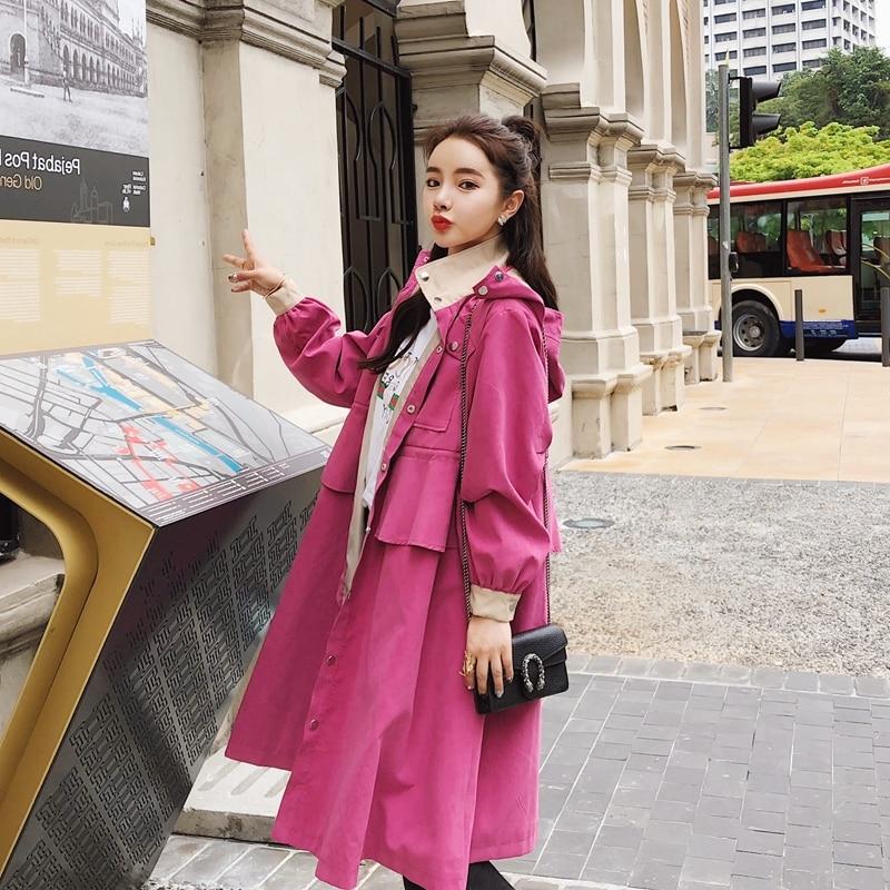 Lâche Peach navy Automne Manteaux Vêtements Avec 2018 Femme Imperméables Outwear vent Ceinture Printemps Longue Mode Pink Dame Tranchée Coupe Femmes A825 Manteau IxCCHw4q