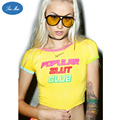 Sea-mao 2016 Summer Tops Candy Color Crop Top Tumblr Tees POPULAR SLUT CLUB Printed Sexy Slim Women T-shirt Freeshipping JST018