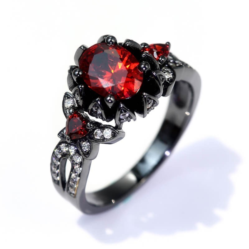 Punk Diablo Series Of Bloody Flower Rings, Boulder Elegant Ring Fashion Party Jewelry Size 5-12 Ruby Ring