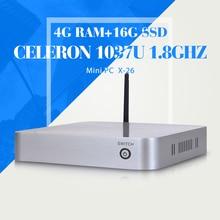 Небольшого система с wi-fi C1037U 4 г оперативной памяти 16 г SSD Linux компьютеры мини-htpc X86 поддержки мини-htpc видео