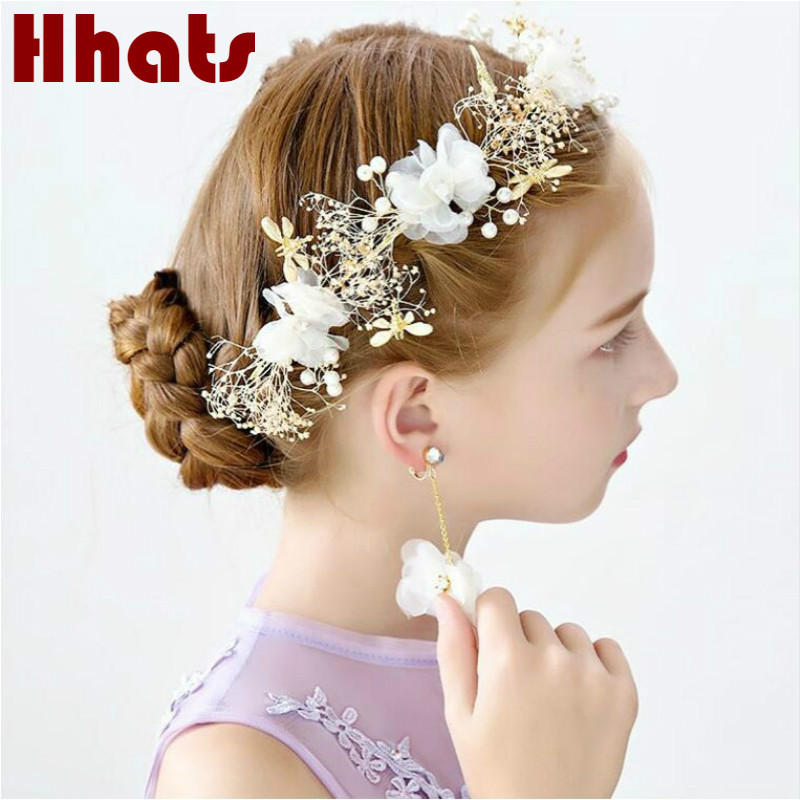Handmade pretty girl party babysbreath silk flower headband ring set artificial flower hair band birthday party hair accessories