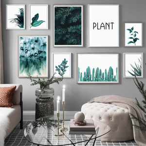 Image 2 - الصنوبر يترك الصبار الهندباء النباتية يطبع الرسم على لوحات القماش الجدارية الشمال الملصقات والمطبوعات جدار صور لغرفة المعيشة