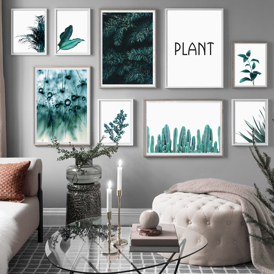 Image 2 - Pine Leaves Cactus Dandelion Botanical Prints Wall Art Canvas Painting Nordic Posters And Prints Wall Pictures For Living Room-in Painting & Calligraphy from Home & Garden
