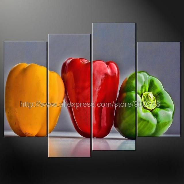 Peppers Kitchen Art Cascade Modern Many Sizes Free Postage Oil Painting  Abstract Art Huge Wall Painting