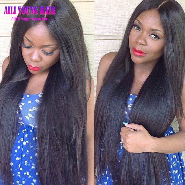 Hotsale Glueless Full Lace Human Hair Wigs Silky Straight Virgin Peruvian Human Hair Lace Front Wigs For Black Women U Part Wig