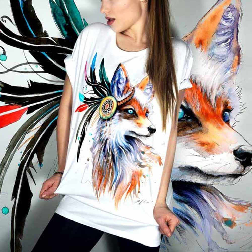 Creative color fox Women Plus Size Printing Tees Shirt Short Sleeve T Shirt T-shirt Colorful beauty