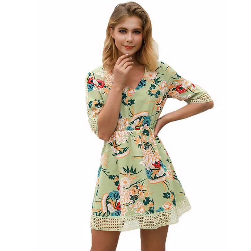 Women's Chic V-Neck Dresses Floral Print Half Sleeve Female Lace Hem Empire Dress Summer Clothing Women A-Line Mini Dress