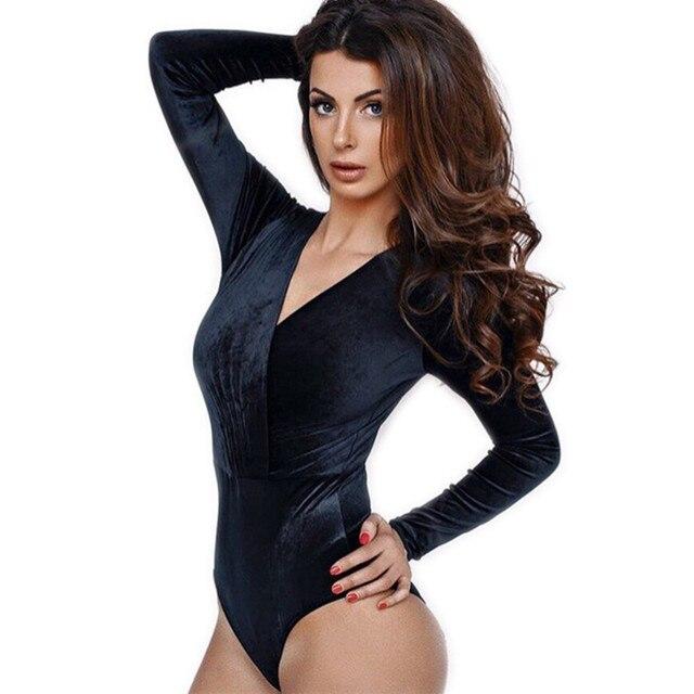3604a5037b7ee Hot Sale Sexy V-neck Long Sleeve Navy Blue Women Bodysuits Velvet Autumn  Winter Ruched Femmes Bodycon Rompers New Monos Female