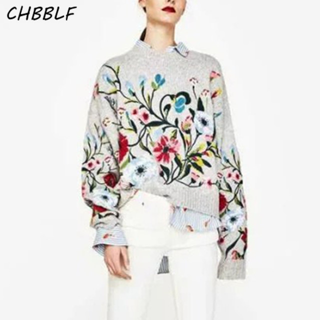 New Spring 2017 European Floral Embroidery Knit Sweater Lady Fashion Flat Knitted Pullovers N8525