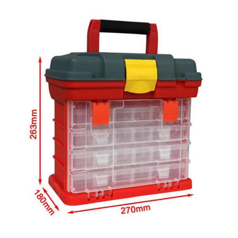 Portable 4 Layers Plastic Box Large Fishing Box Parts Screw Storage Box Storage Fishing Lures Tools Accessories Toolbox