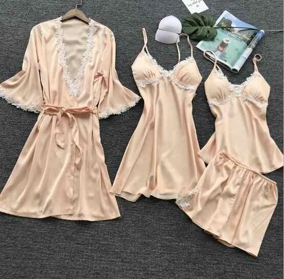Fdfklak pijama sexy de seda para mujer primavera otoño vestido de encaje 4 piezas ropa de dormir pijamas para mujer conjunto de pijamas para el hogar