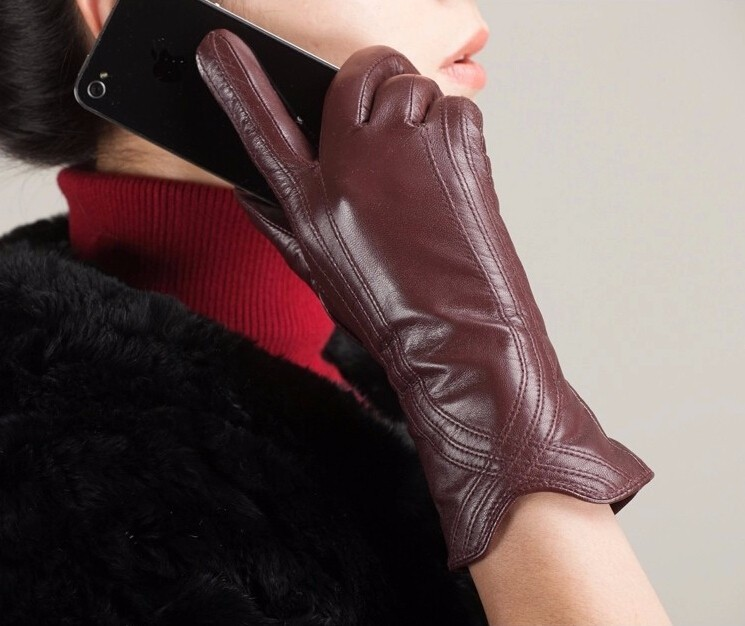 High Quality Women Genuine Sheepskin Winter Women Leather Gloves Lady knitting lined Warm Winter Mittens women gloves 13