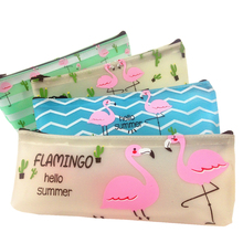 1pcs/lot Flamingo Pencil Case PU Nice Gift Bag For Students Four Selection And High Quality Customers