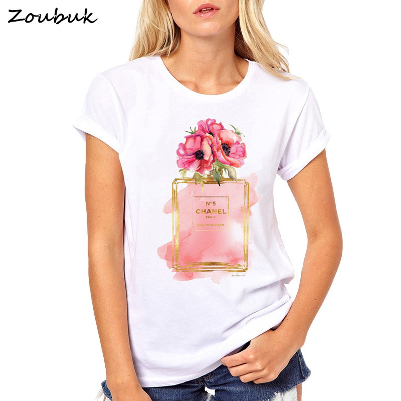 2018 harajuku camiseta Mujer Flor Perfume camiseta mujer moda manga corta Camiseta Casual tops mujer Camisetas Tallas grandes