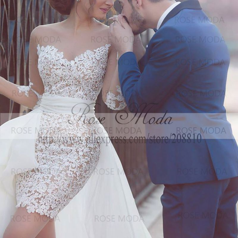 Stunning Ivory Over Champagne Short Lace Wedding Dress With Sheer