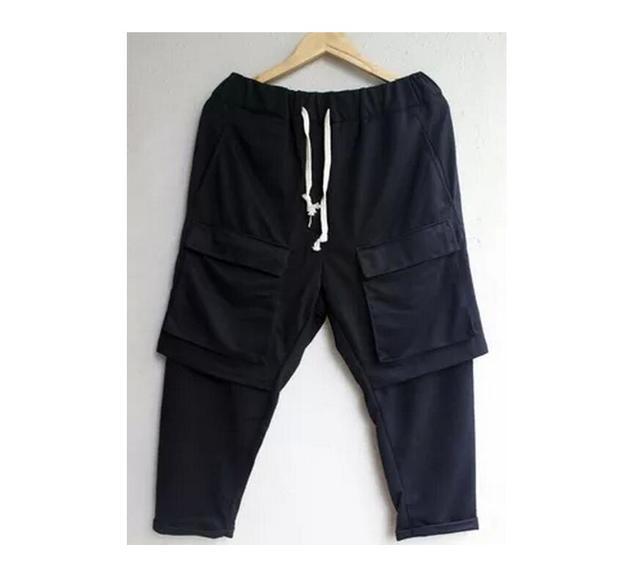 HOT 2017 moda de Nova dupla camada preta capris bolso grande calça casual plus size solto harem pants cantor trajes 27-44