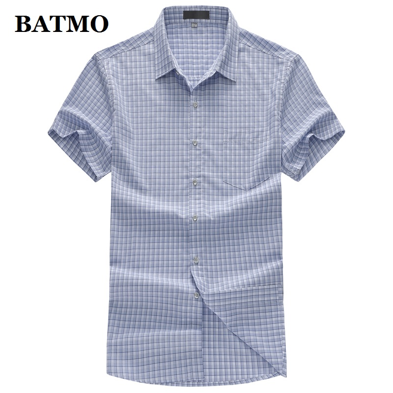 BATMO 2019 new arrival summer high quality Bamboo Fiber plaid Smart casual shirts men,men's fashion shirts plus size  T950