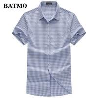 BATMO 2019 new arrival summer high quality Bamboo Fiber plaid Smart casual shirts men,men's fashion shirts plus size T950