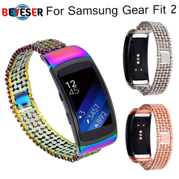 BEYESER Replacement Stainless Metal Wrist Strap For Samsung Gear Fit 2 Pro Luxury Watchband Bracelet For Samsung Fit2 Watch Band sport silicone strap for samsung gear fit 2 watch band replacement wrist belt bracelet straps for samsung gear fit2 watchband