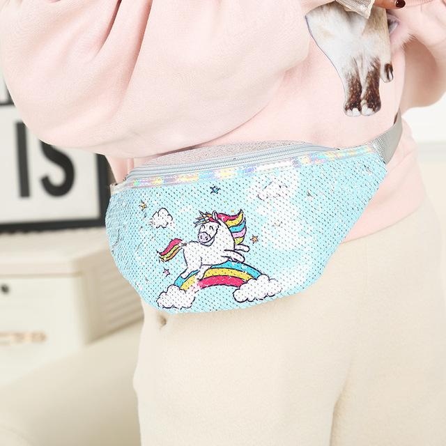 Sequin unicorn waist bag / Bolsa de cintura de unicornio  de lentejuelas